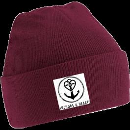 ANCHORS & HEARTS 'World Logo' Beanie burgund