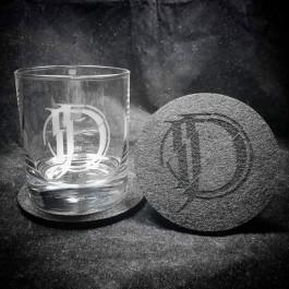 JOHNNY DEATHSHADOW 'Icon' Whiskey Tumbler mit Filz-Untersetzer