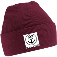 ANCHORS & HEARTS 'World Logo' Beanie burgund
