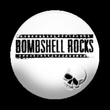 BOMBSHELL ROCKS 'Logo Skull' Button weiß